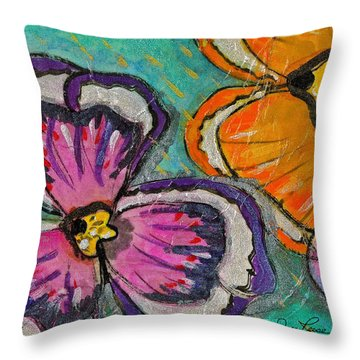 Blooming Flowers Throw Pillow by Joan Reese