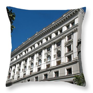 Throw Pillow featuring the photograph Bloomingdale's - San Francisco Vintage Architecture by Connie Fox