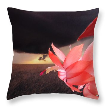 Blooms Against Tornado Throw Pillow by Katie Wing Vigil