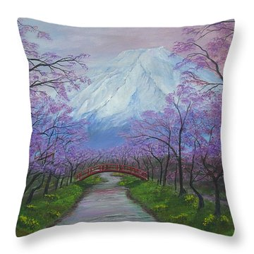 Blooms Of Fuji  Throw Pillow