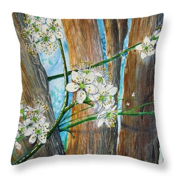Blooms Of The Cleaveland Pear Throw Pillow