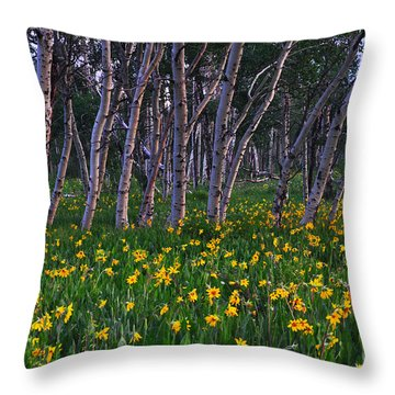 Bloooming Aspens Throw Pillow