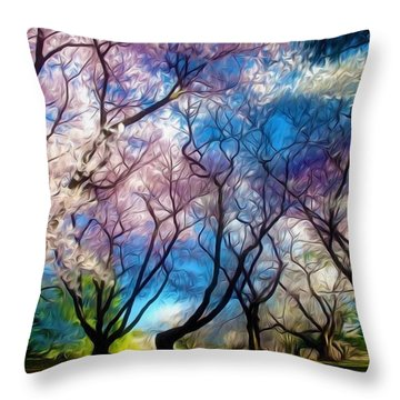 Blossom Cherry Trees Over Spring Sky Throw Pillow by Lanjee Chee