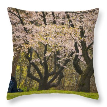 Blossoming Love Under The Cherry Blossoms Throw Pillow