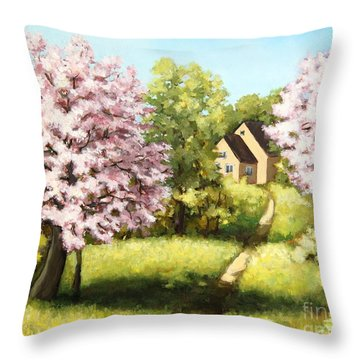 Blossoming Orchard Throw Pillow