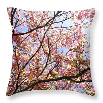 Blossoming Pink Throw Pillow