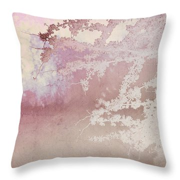 Blossoming Red Bud In Pink  Throw Pillow by Ann Powell