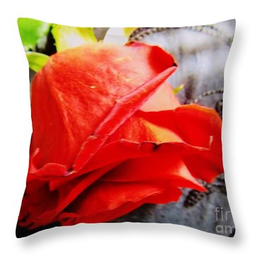 Throw Pillow featuring the photograph Blossoming Red by Robyn King