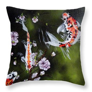 Blossoms And Koi Throw Pillow by Carol Avants