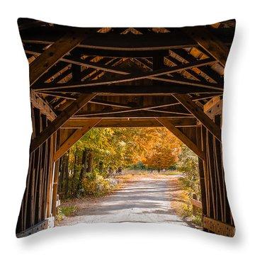 Blow-me-down Covered Bridge Cornish New Hampshire Throw Pillow