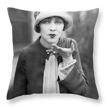 Blowing A Kiss Throw Pillow