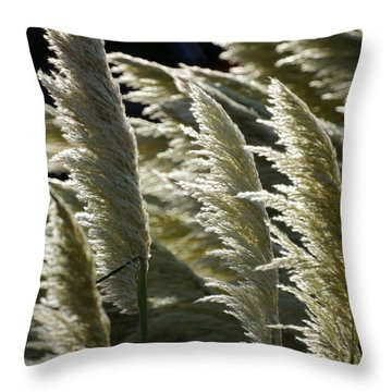 Blowing Free Throw Pillow by Ron Harpham