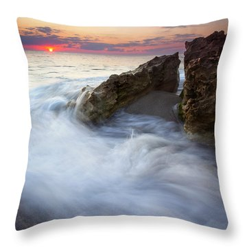 Blowing Rocks Sunrise Throw Pillow by Mike  Dawson