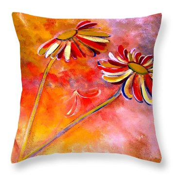 Blown Backward Fall Floral Throw Pillow by Lisa Kaiser