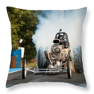 Blown Front Engine Dragster Burnout Throw Pillow