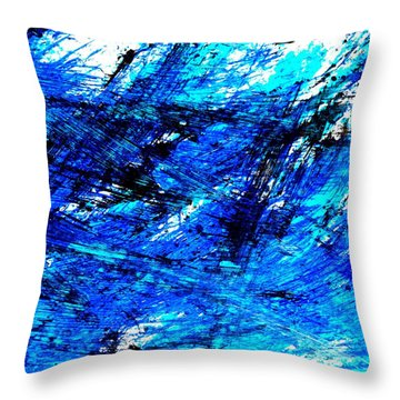 Blu Abstract 4 Throw Pillow by Jason Michael Roust