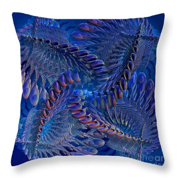 Blue 3 Throw Pillow by Deborah Benoit