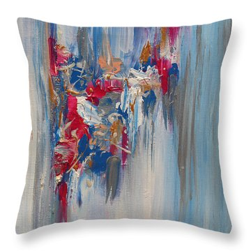 Blue Abstract Landscape Throw Pillow