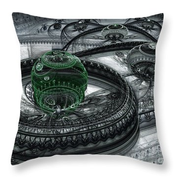 Dark Alien Landscape Throw Pillow