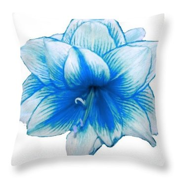 Blue Amaryllis Throw Pillow
