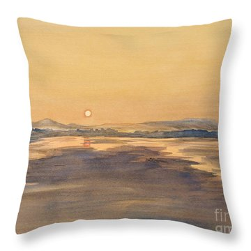 Throw Pillow featuring the painting Blue Anchor Sunset by Martin Howard