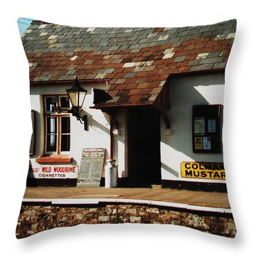 Blue Anchor Ticket Office Throw Pillow by Martin Howard