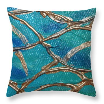 Blue And Gold Abstract Throw Pillow