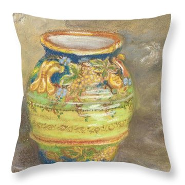 Blue And Gold Italian Pot Throw Pillow by Harriett Masterson