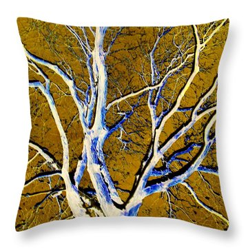 Blue And Gold Throw Pillow by Jodie Marie Anne Richardson Traugott          aka jm-ART