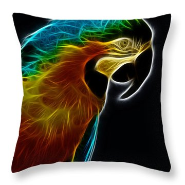 Blue And Gold Macaw Frac Throw Pillow