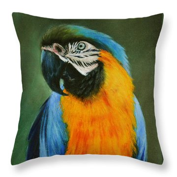 Blue And Gold Macaw Throw Pillow by Lynn Hughes
