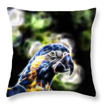 Blue And Gold Macaw V4 Throw Pillow by Douglas Barnard