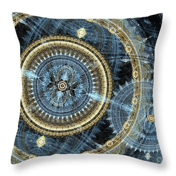 Blue And Gold Mechanical Abstract Throw Pillow