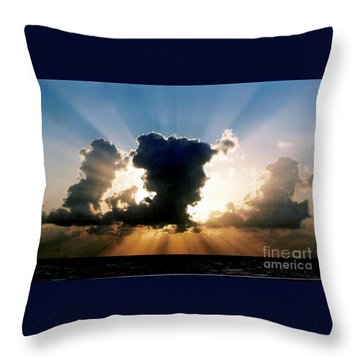 Throw Pillow featuring the photograph Blue And Gold Rays Sunset In The Gulf Of Mexico Off The Coast Of Louisiana by Michael Hoard