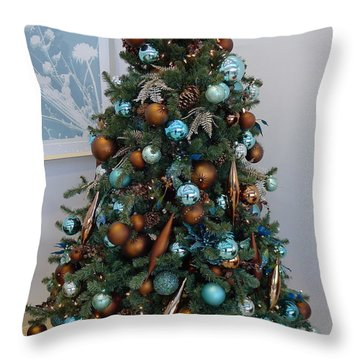 Throw Pillow featuring the photograph Blue And Gold Xmas Tree by Richard Reeve