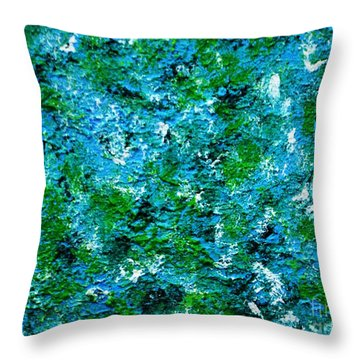 Blue And Green Wall Throw Pillow by P Dwain Morris