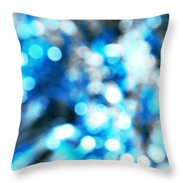 Throw Pillow featuring the digital art Blue And White Bokeh by Fine Art By Andrew David