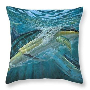 Blue And Mahi Mahi Underwater Throw Pillow