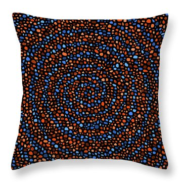 Throw Pillow featuring the digital art Blue And Orange Circles by Janice Dunbar