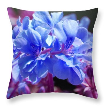 Blue And Purple Flowers Throw Pillow by Matt Harang