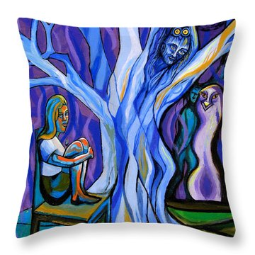 Blue And Purple Girl With Tree And Owl Throw Pillow by Genevieve Esson