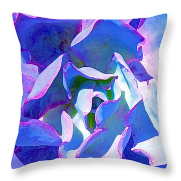 Blue And Purple Succulent Close Up Throw Pillow by Amy Vangsgard