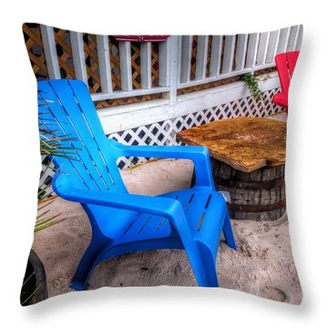 Throw Pillow featuring the digital art Blue And Red Chairs by Michael Thomas