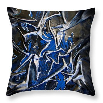 Blue And Silver Dancers Throw Pillow