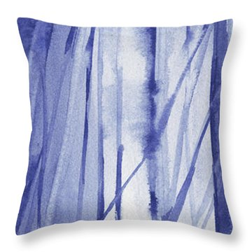 Blue And White Abstract Panoramic Painting Throw Pillow