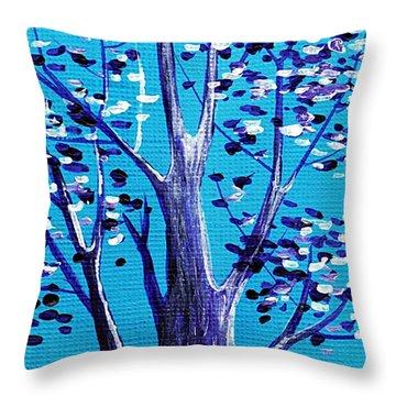 Blue And White Throw Pillow by Anastasiya Malakhova