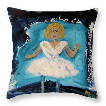 Blue And White Ballerina Throw Pillow by Mary Carol Williams