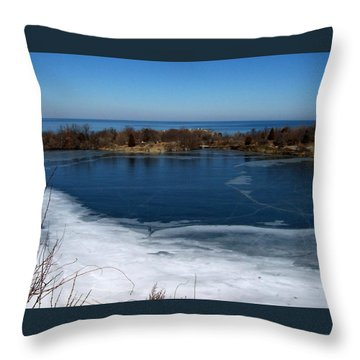 Blue And White Throw Pillow by Catherine Gagne