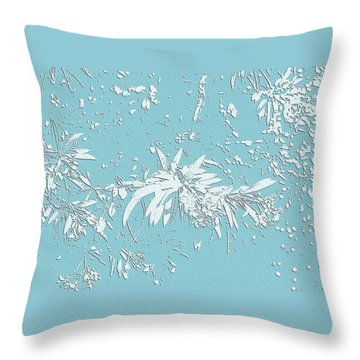 Blue And White Leaves Throw Pillow by Ellen O'Reilly