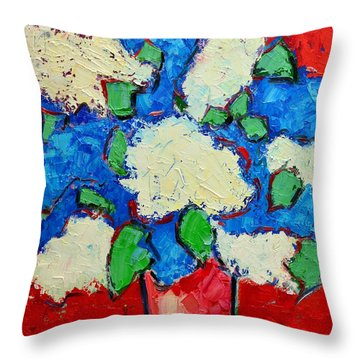 Blue And White Lilac Bouquet Throw Pillow by Ana Maria Edulescu